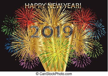 nouveau, feux artifice, 2019, heureux, année