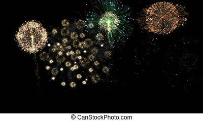 nouveau, feux artifice, année, célébration