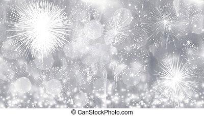 nouveau, feux artifice, année