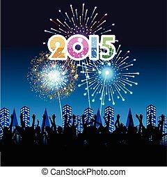 nouveau, feux artifice, heureux, année