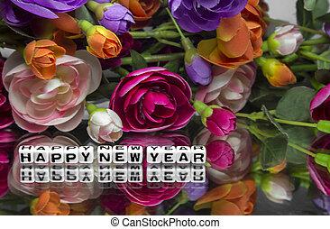 nouveau, fleurs, heureux, année