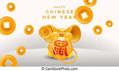 nouveau, fortune, année, chinois, animation, rat, or, 2020