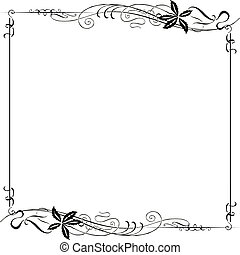 nouveau, frame, kunst, sierlijk
