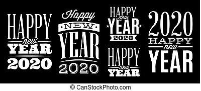 nouveau, gabarits, vecteur, félicitation, 2020, ensemble, année
