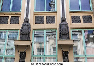 nouveau, gebouw, kunst, detail, tallinn, facade