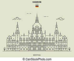 nouveau, germany., hanovre, repère, hôtel ville, icône