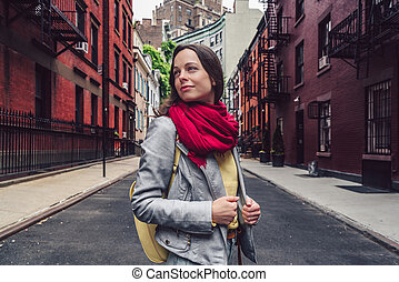 nouveau, girl, rue, séduisant, york