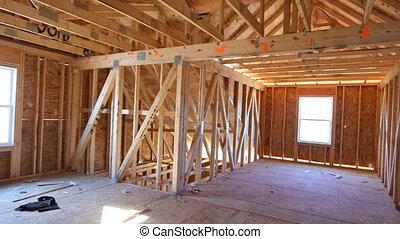 nouveau, grenier, emmagasiner construction, intérieur, appartement, résidentiel, cadre mur