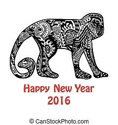 nouveau, hand-drawn, singe, carte, année