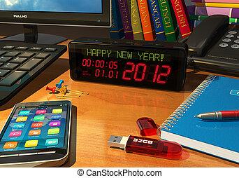 """nouveau, """"happy, message, horloge, year!"""""""