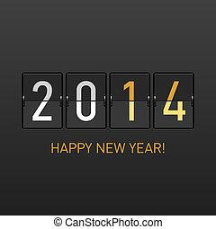 nouveau, heureux, 2014, carte, année