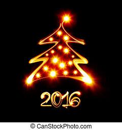 nouveau, heureux, année, 2016