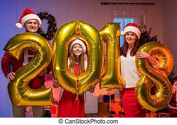 nouveau, heureux, ballons, famille, année
