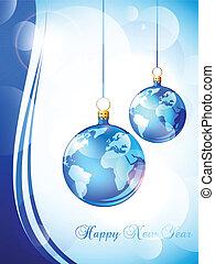 nouveau, heureux, carte voeux, année