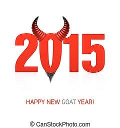nouveau, heureux, chèvre, carte, année