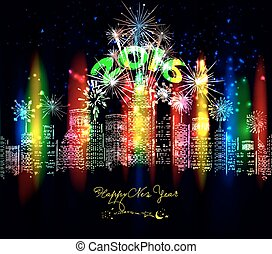 nouveau, heureux, coloré, ville, année