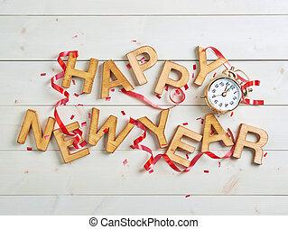 nouveau, heureux, composition, année