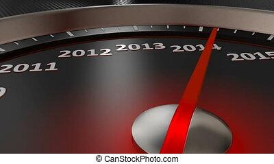 nouveau, heureux, compteur vitesse, année
