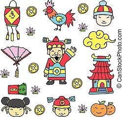nouveau, heureux, doodles, chinois, année