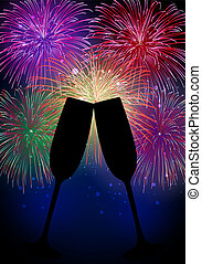 nouveau, heureux, feux artifice, champagne, année