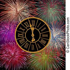 nouveau, heureux, feux artifice, veille, année