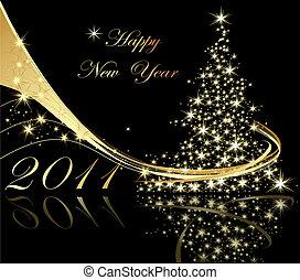 nouveau, heureux, fond, année