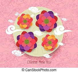 nouveau, heureux, oriental, chinois, année