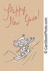 nouveau, heureux, retro, card., année