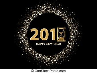 nouveau, heureux, salutation, année
