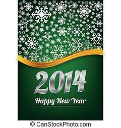 nouveau, heureux, vert, carte, année
