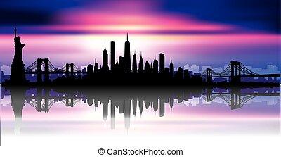 nouveau, horizon, vecteur, york, ville
