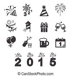 nouveau, icône, heureux, année