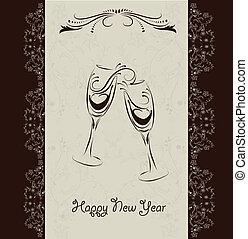 nouveau, invitation, heureux, carte, année