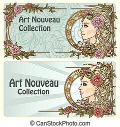 nouveau, művészet, háttér