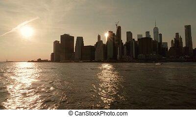 nouveau, manhattan, vue, york, panoramique, coucher soleil