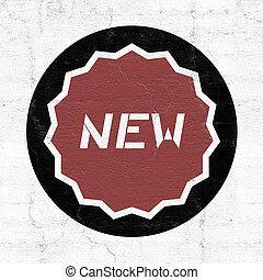 nouveau, message, symbole