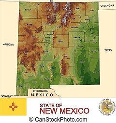 nouveau mexique, comtés, carte