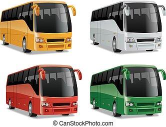 nouveau, moderne, confortable, ville, autobus