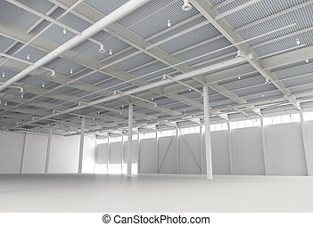 nouveau, moderne, vide, entrepôt
