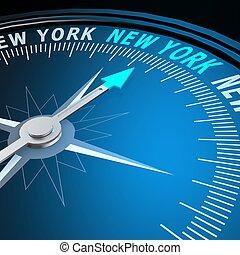 nouveau, mot, york, compas