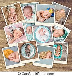 nouveau né, collage, bébés, dormir