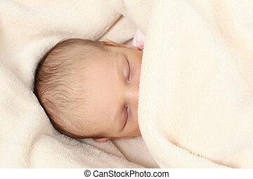 nouveau-né, couverture, doux, dormir
