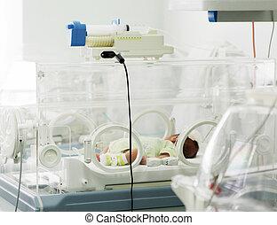 nouveau-né, dans, hôpital