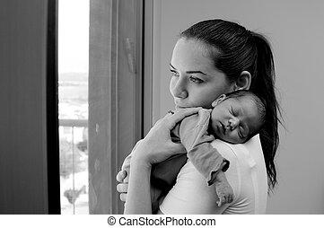 nouveau-né, elle, mère