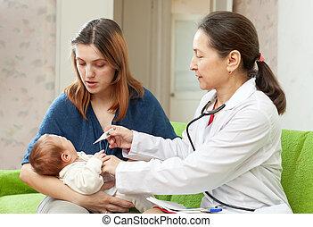nouveau né, examiner, thermomètre, bébé, docteur