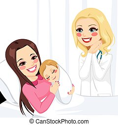 nouveau-né, girl, femme, étreindre