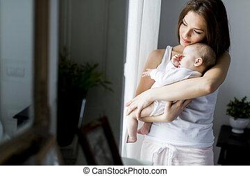 nouveau-né, girl, heureux, mère