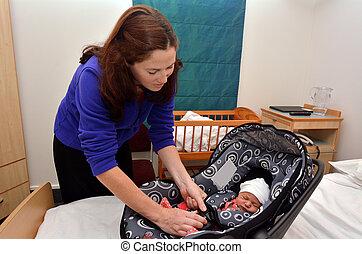 nouveau-né, hôpital, aller maison