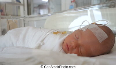 nouveau-né, hôpital, goutte, dormir