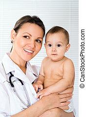 nouveau né, heureux, docteur